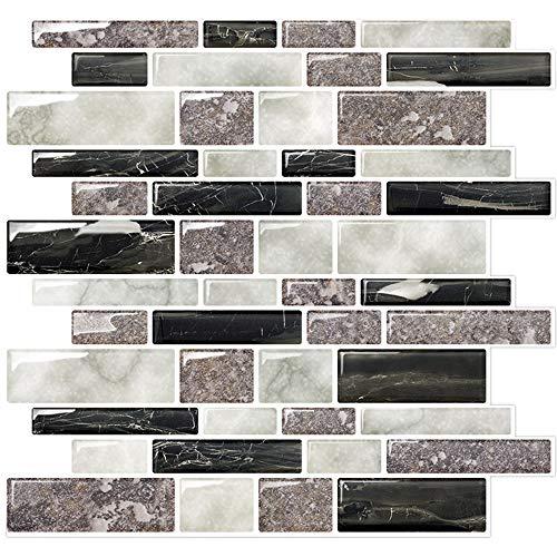 Marble Look Peel and Stick Tile Backsplash, Kitchen Backsplash Peel and Stick, Decorative Self Adhesive Backsplash Tiles (Pack of 5, Thicker Design)