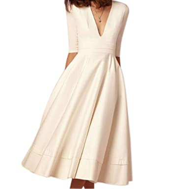 677dadbfd866d8 Image Unavailable. Image not available for. Color  Honghu Women s V Neck  Midi Party Dress Half Sleeve ...