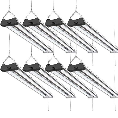 Sunco Lighting 8 Pack Industrial LED Shop Light, 4 FT, Linkable Integrated Fixture, 40W=260W, 5000K Daylight, 4000 LM, Surface + Suspension Mount, Pull Chain, Utility Light, Garage- Energy Star