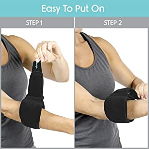 Tennis Elbow Brace by Vive - Adjustable Arm Support Strap for Pain - Golfers Elbow Brace - Compression Elbow Wrap Pad for Tendinitis and Lateral Epicondylitis - Sore Elbow Compression Splint Sleeve
