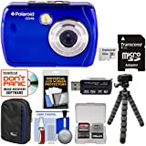 Polaroid iS048 Waterproof Digital Camera (Blue) 32GB Card + Case + Tripod + Cleaning Kit