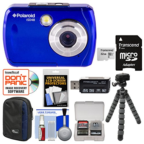 Polaroid iS048 Waterproof Digital Camera (Blue) with 32GB Card + Case + Tripod + Cleaning Kit by Polaroid