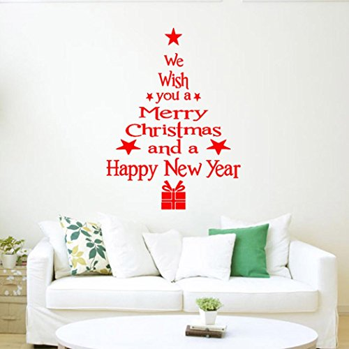 IEason Wall Sticker Clearance Sale! Christmas Tree Letters Stick Wall Art Decal Mural Home Room Decor Wall Sticke (Red)