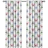 shenglv Casino, Curtains and Valances, Cards Symbols Soft Colors Geometric Ornament Pattern Gathering