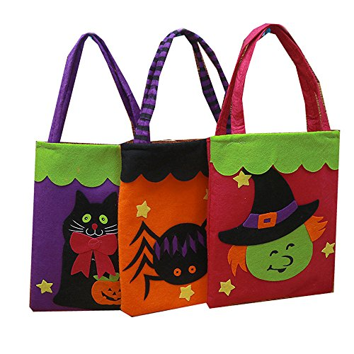 Halloween Tote Bag Non-woven Fabrics Candy Spiders Witch Black Cat Gift Bags Halloween Party Children Toys Reusable Candy Totes (3 Pack) ()