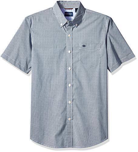Dockers Men's Short Sleeve Button Down Comfort Flex Shirt, Bruns Ocean Blue, Small