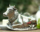 Vagabond House Pewter Metal Mabel the Cow Butter Cream Cheese Dish Lid with Stoneware Tray Base 8.5'' Long