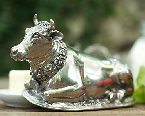 Vagabond House Pewter Metal Mabel the Cow Butter Cream Cheese Dish Lid with Stoneware Tray Base 8.5