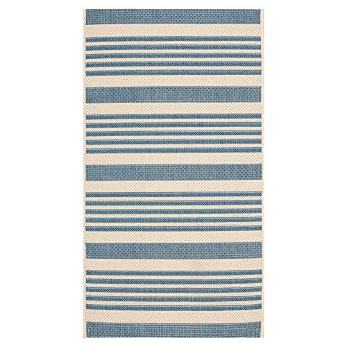 Safavieh Transitional Rug - Courtyard 6000 Polypropylene -Beige/Blue Beige/Blue/Transitional/6' 7''L x 6' 7''W/Round Fine Sisal Rug