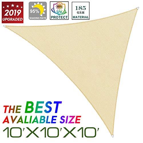 Pansonite 10 x 10 x 10 Triangle Sun Shade Sail,Durable UV Block Canopy,Perfect for Patio Yard Backyard Sand – 5 Years Warranty 01
