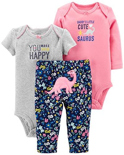 Carter's Baby Girls' 3-Piece Little Character Set (Heather/Pink/Dinosaur, 18 Months)