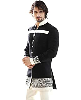Srajan Customize Wedding Wear Plain Black Indowestern Sherwani With Dhoti Style Mehrune Red Trouser For Men SH1327
