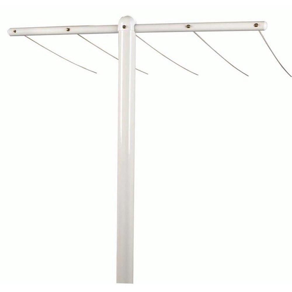 Household Essentials FT-30 Mega Outdoor Clothesline T Post | Single White T-Post