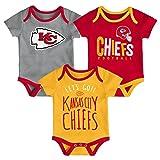 NFL by Outerstuff NFL Kansas City Chiefs Newborn & Infant Little Tailgater Short Sleeve Bodysuit Set Red, 6-9 Months