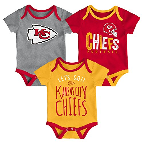 Outerstuff NFL NFL Kansas City Chiefs Newborn & Infant Little Tailgater Short Sleeve Bodysuit Set Red, 18 Months ()