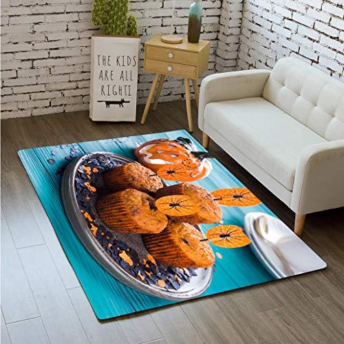 MTSJTliangwan 3D Printing Pumpkin Muffins for Halloween Kids Party Bathroom Carpet Flannel Foam Shower mat Absorbent Living Room Kitchen Door Carpet Floor mat ()
