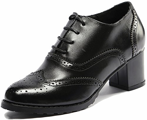 U-lite Black Perforated Lace-up Wingtip Leather Pump Oxfords Vintage Oxford Shoe Women BLK (Oxford Lace Up Pump Shoes)