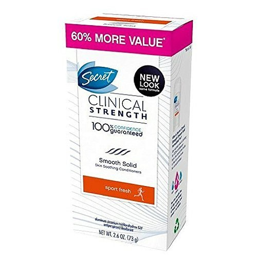 Secret Clinical Strength Smooth Solid Women's Antiperspirant & Deodorant Sport Fresh Scent 2.6 Oz (Pack of 12) by Secret