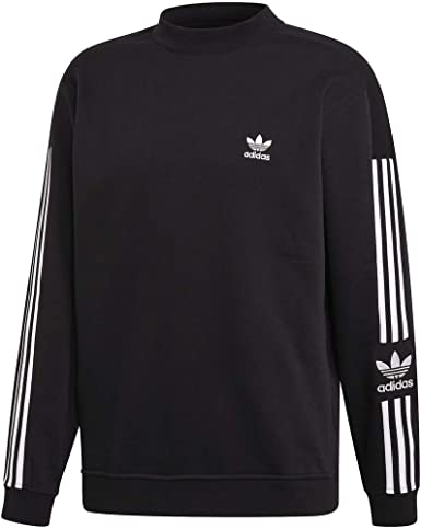 adidas Originals Men/'s Graphic Crew Jumper Fashion 3-Stripes Street Black