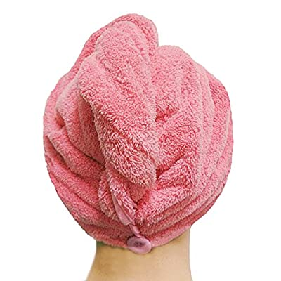 DearyHome Enlarged Microfiber Hair Towel Super Absorbent Twist Hair Drying Turban Wrap,Rose