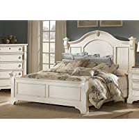 American Woodcrafters Heirloom Poster Bed, Antique White, King
