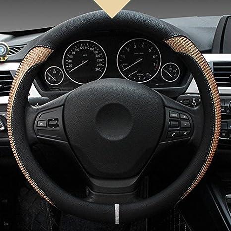 Blau XuanMax Universal Lenkradbezug PU Leder Atmungsaktiv Lenkradhulle Anti-Rutsch Lenkradschoner Fahrzeug Auto Lenkrad Abdeckung Steering Wheel Cover Lenkradabdeckung 38cm