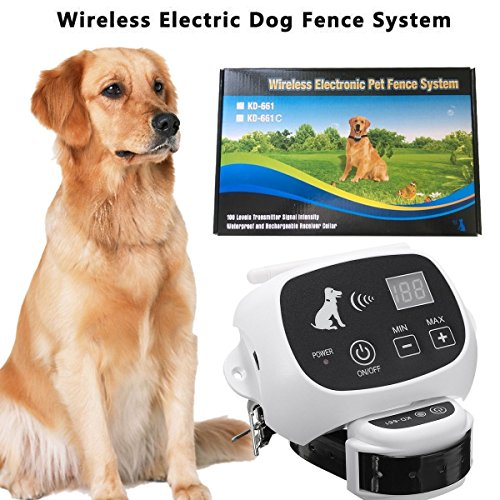 CarePetMost Wireless Electric Dog Fence System Outdoor Invisible Wireless Dog Fence Containment System 550YD Remote Control for All Size Dogs Rechargeable Waterproof Receiver Beep/shock/static (Wireless Electric Dog Fence)