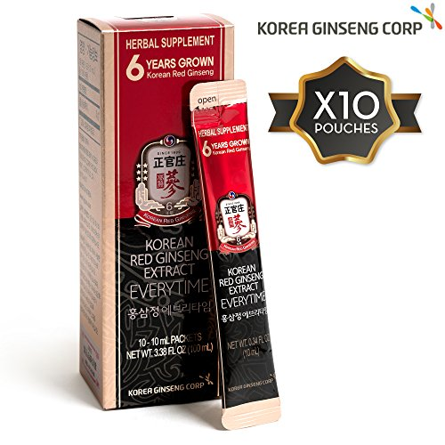 KGC Korean Panax Red Ginseng Extract Capsules - Immune System, Natural Energy Stamina, Antioxidants Healthy Memory Function, Blood Circulation, 10 Portable Pouches