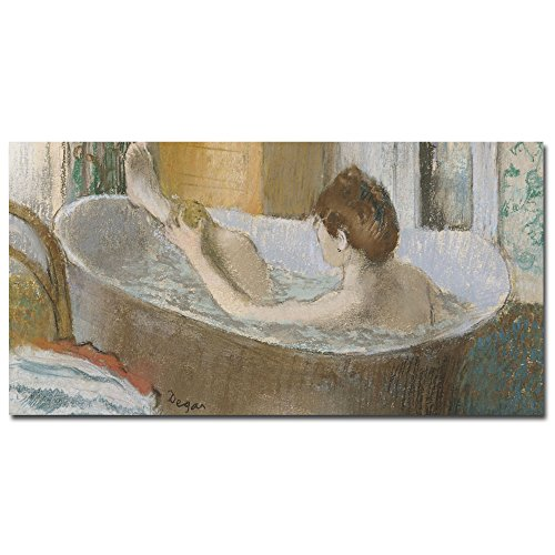 Woman in Her Bath 1883 by Edgar Degas Wall Decor, 12 by 24-Inch Canvas Wall Art