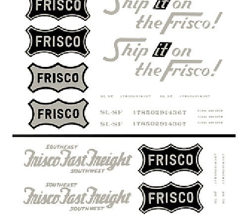Frisco Box Cars Dry Transfer Decals Woodland Scenics