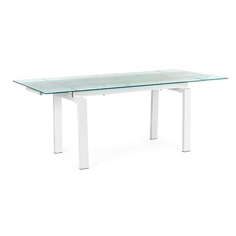 ARREDinITALY Mesa Extensible Color Blanco Tablero Vidrio 140 ...