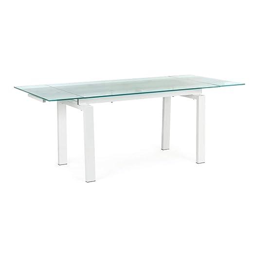 ARREDinITALY Mesa Extensible Color Blanco Tablero Vidrio 140/200 X ...