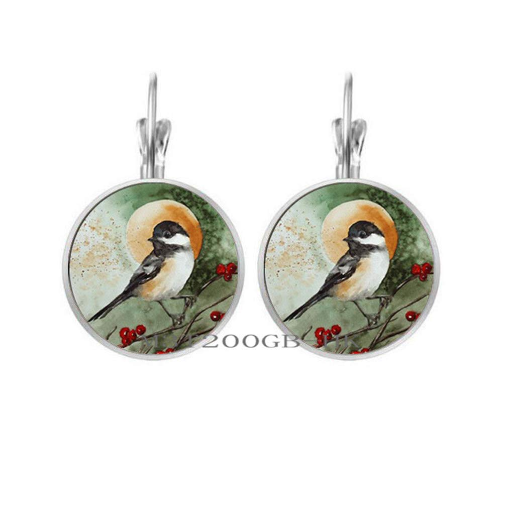 Sterling Silver 925 and Rose Gold Robin Christmas Dangle Earrings