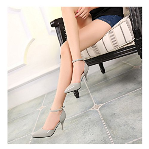 Women's Pointed Toe Ankle Strap High Heel Stiletto Pumps Shoes Gray 9HIYj