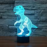 Borang Dinosaur 3D Night Light Touch Table Desk Lamp,Borang 7 Colors 3D Optical Illusion Lights with Acrylic Flat & ABS Base & USB Charger for Christmas Gifts