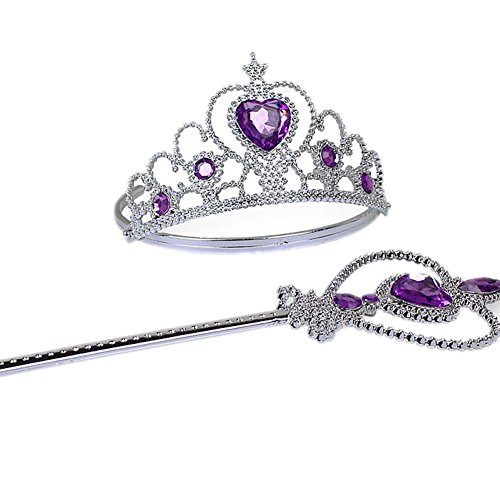 Qzc Princess Wand And Tiara Set - Sparkling Silver Funny Party Hats,Princess Accessories - Costume Tiara 2 sets (purple)
