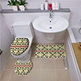 Bath mat set Round-Shaped Toilet Mat Area Rug Toilet Lid Covers 3PCS,Tribal,Ethnic and Creative Peacock Pattern with Flowers Abstract Native America Art Decorative,Cream and Purple ,Bath mat set Round