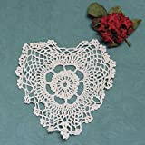Package of 12 Hand Crocheted Heart Shaped Ecru Doilies - 100% Cotton- 8'' Wide