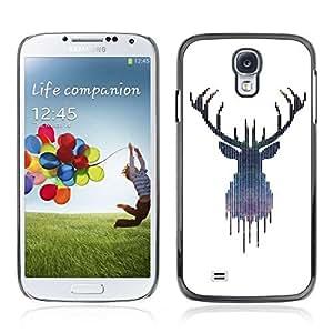Colorful Printed Hard Protective Back Case Cover Shell Skin for Samsung Galaxy S4 IV (I9500 / I9505 / I9505G) / SGH-i337 ( Hipster Moose Elk Illustration )