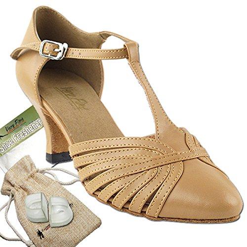 Womens Ballroom Dance Shoes Tango Wedding Salsa Shoes 6829BEB Comfortable-Very Fine 2.5 [Bundle of 5] Beige Brown Leather