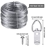 Jovitec Picture Hanging Kit 20 Pieces D-Ring Picture Hangers 2 Hole with 40 Pieces Screws, 100 Feet Picture Hanging Wire, Supports up to 30 lbs