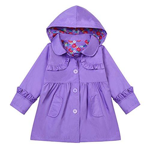 LZH Little Girls Waterproof Raincoat Floral Outwear Hooded Jacket Coat Purple