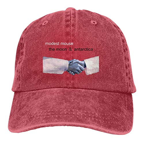 (YBHAT Modest Mouse The Moon & Antarctica Mens & Women Pigment Dyed Hat Adjustable Red)