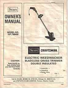 358. 791072 craftsman gasoline weedwacker manual.