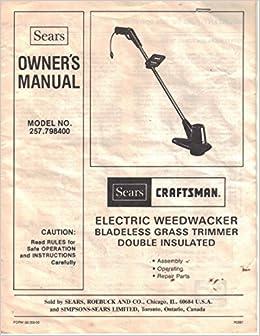 Operator's manual craftsman 12-in. 4. 0 amp weedwacker electric.