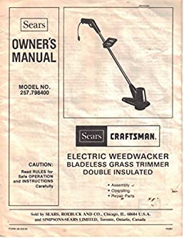 sears craftsman electric weedwacker bladeless grass trimmer rh amazon com craftsman weedwacker electric trimmer manual craftsman electric weed wacker instructions