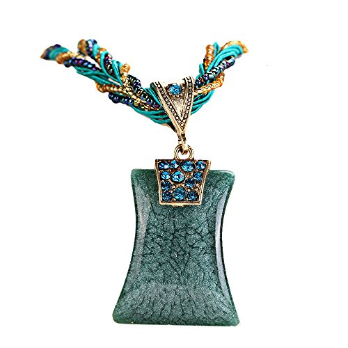 - FEDULK Womens Bohemian Ethnic Style Necklace Rhinestone Geometric Type Gem Pendant Statement Jewelry(Blue)