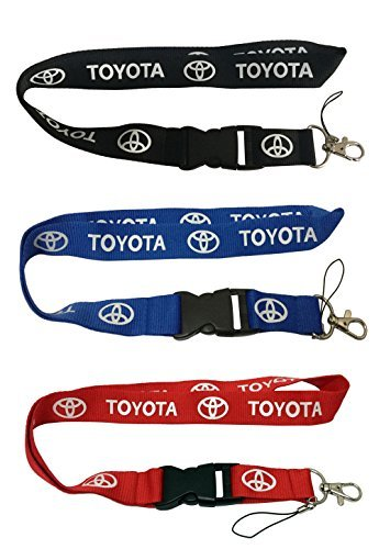 Set 1pcs Black Toyota + 1pcs Blue Toyota + 1pcs Red Toyota Auto Lanyard Workout Gear Office And Auto Car Keychain Accessories Motorbike Superbike Lanyard With Webbing Strap Quick Release Buckle