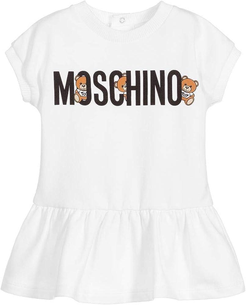 Moschino Abito Bianco con Stampa Logo Nero