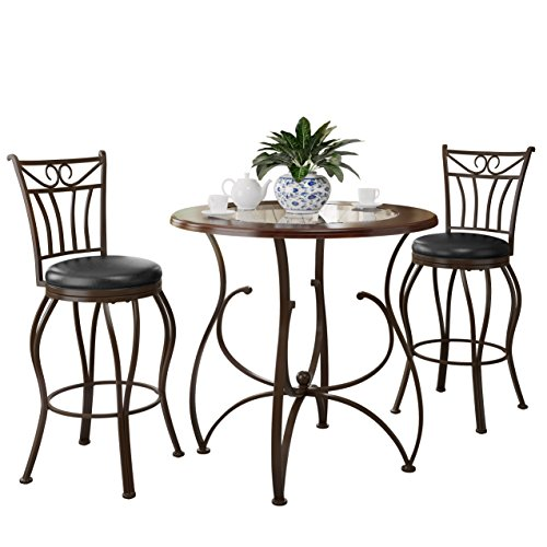 CorLiving DJS-923-Z2 Jericho 3PC Counter Height Glossy Brown Barstool & Bistro Table Set
